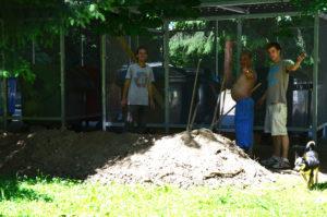 príprava pozemku na osadenie podlahy a kompostéru